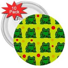 Green Frogs 3  Buttons (10 Pack)  by Valentinaart