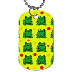 Green Frogs Dog Tag (two Sides) by Valentinaart