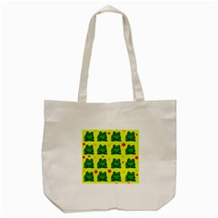 Green Frogs Tote Bag (cream) by Valentinaart