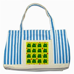 Green Frogs Striped Blue Tote Bag by Valentinaart