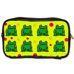 Green Frogs Toiletries Bags 2 Side by Valentinaart