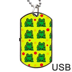 Green Frogs Dog Tag Usb Flash (one Side) by Valentinaart