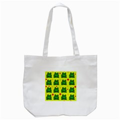 Green Frogs Tote Bag (white) by Valentinaart