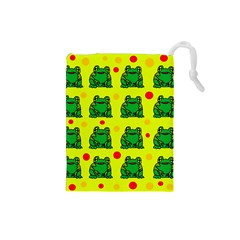 Green Frogs Drawstring Pouches (small)  by Valentinaart