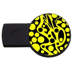 Black and Yellow abstract desing USB Flash Drive Round (1 GB)