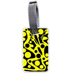 Black And Yellow Abstract Desing Luggage Tags (one Side)  by Valentinaart
