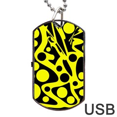 Black And Yellow Abstract Desing Dog Tag Usb Flash (two Sides)  by Valentinaart