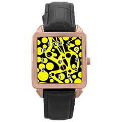 Black And Yellow Abstract Desing Rose Gold Leather Watch  by Valentinaart