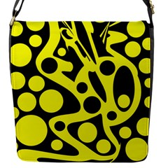 Black And Yellow Abstract Desing Flap Messenger Bag (s) by Valentinaart
