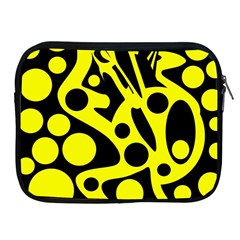 Black And Yellow Abstract Desing Apple Ipad 2/3/4 Zipper Cases by Valentinaart