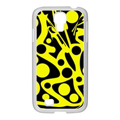 Black And Yellow Abstract Desing Samsung Galaxy S4 I9500/ I9505 Case (white) by Valentinaart