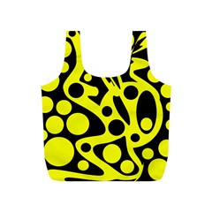 Black And Yellow Abstract Desing Full Print Recycle Bags (s)  by Valentinaart