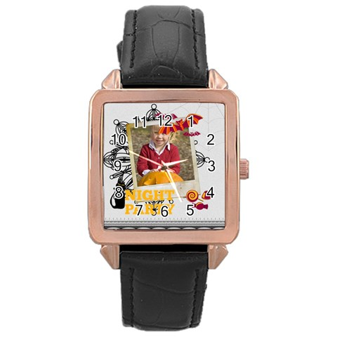 Halloween By Helloween   Rose Gold Leather Watch    Nrnn8kz0mk1h   Www Artscow Com Front