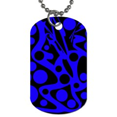 Blue And Black Abstract Decor Dog Tag (one Side) by Valentinaart