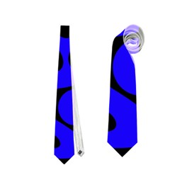 Blue And Black Abstract Decor Neckties (one Side)  by Valentinaart