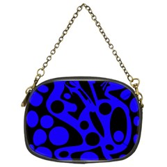 Blue And Black Abstract Decor Chain Purses (one Side)  by Valentinaart