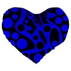 Blue And Black Abstract Decor Large 19  Premium Heart Shape Cushions by Valentinaart