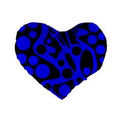 Blue and black abstract decor Standard 16  Premium Flano Heart Shape Cushions by Valentinaart