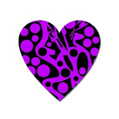 Purple And Black Abstract Decor Heart Magnet by Valentinaart