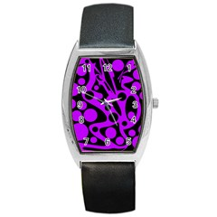 Purple And Black Abstract Decor Barrel Style Metal Watch by Valentinaart