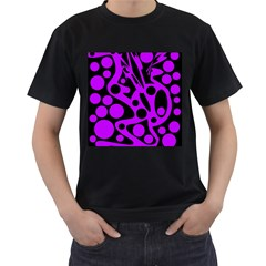 Purple And Black Abstract Decor Men s T Shirt (black) (two Sided) by Valentinaart