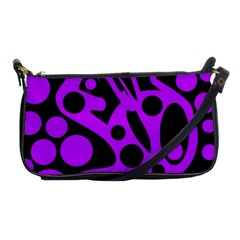 Purple And Black Abstract Decor Shoulder Clutch Bags by Valentinaart