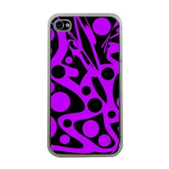 Purple And Black Abstract Decor Apple Iphone 4 Case (clear) by Valentinaart