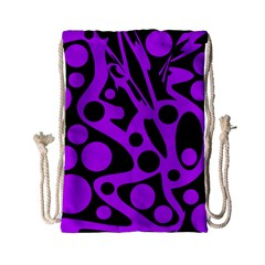 Purple And Black Abstract Decor Drawstring Bag (small) by Valentinaart