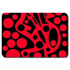 Red And Black Abstract Decor Large Doormat  by Valentinaart