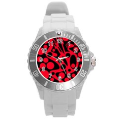 Red And Black Abstract Decor Round Plastic Sport Watch (l) by Valentinaart