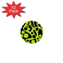 Green And Black Abstract Art 1  Mini Buttons (10 Pack)  by Valentinaart