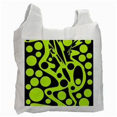 Green And Black Abstract Art Recycle Bag (two Side)  by Valentinaart