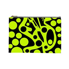 Green And Black Abstract Art Cosmetic Bag (large)  by Valentinaart
