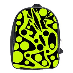 Green And Black Abstract Art School Bags(large)  by Valentinaart