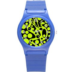Green And Black Abstract Art Round Plastic Sport Watch (s) by Valentinaart