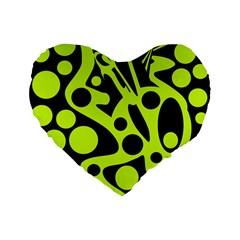 Green and black abstract art Standard 16  Premium Flano Heart Shape Cushions by Valentinaart