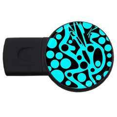 Cyan And Black Abstract Decor Usb Flash Drive Round (2 Gb)
