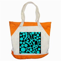 Cyan And Black Abstract Decor Accent Tote Bag by Valentinaart