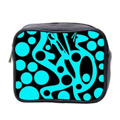 Cyan And Black Abstract Decor Mini Toiletries Bag 2 Side by Valentinaart