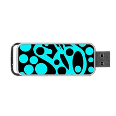 Cyan And Black Abstract Decor Portable Usb Flash (two Sides) by Valentinaart
