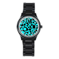 Cyan And Black Abstract Decor Stainless Steel Round Watch by Valentinaart