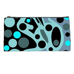 Cyan Blue Abstract Art Pencil Cases by Valentinaart