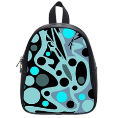 Cyan Blue Abstract Art School Bags (small)  by Valentinaart