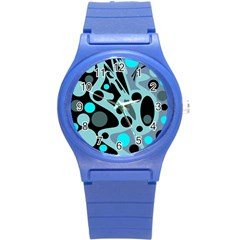 Cyan Blue Abstract Art Round Plastic Sport Watch (s) by Valentinaart