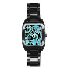 Cyan Blue Abstract Art Stainless Steel Barrel Watch by Valentinaart