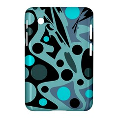 Cyan Blue Abstract Art Samsung Galaxy Tab 2 (7 ) P3100 Hardshell Case  by Valentinaart