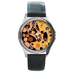 Orange Abstract Decor Round Metal Watch by Valentinaart