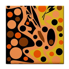 Orange Abstract Decor Tile Coasters by Valentinaart