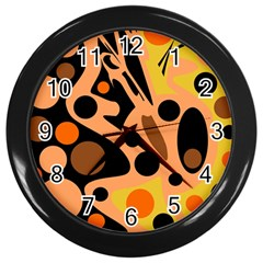 Orange Abstract Decor Wall Clocks (black) by Valentinaart
