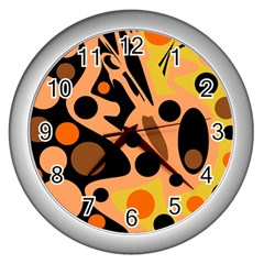 Orange Abstract Decor Wall Clocks (silver)  by Valentinaart